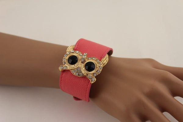 Aqua Blue / Pink / Light Pink / Black Faux Leather Strap Nude Bracelet Gold Metal Owl Head Black Rhinestone Fashion New Women Jewelry Accessories - alwaystyle4you - 4