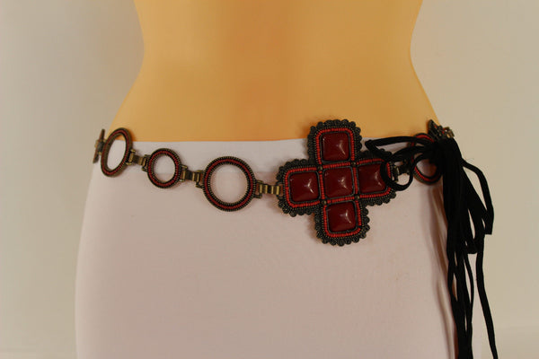 Red / Brown Hip Waist Metal Chain Belt Big Metal - Flower Charm Buckle New Women Fashion Accessories M L - alwaystyle4you - 9
