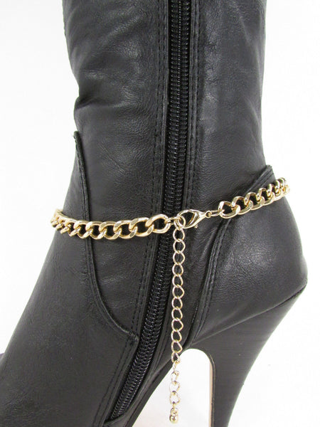 Gold Metal Boots Chain Bracelet Strap SEXY Shoe Charm Rhinestone New Women Fashion Accessories - alwaystyle4you - 11