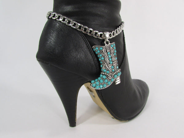 Turquoise / Silver Metal Western Shoe Bling Anklet Charm Boot Chain Bracelet New Women Cowboy Rodeo Fashion - alwaystyle4you - 9