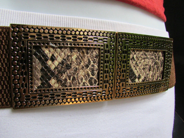 Black / Brown Hip Waist Stretch Belt Snake Print Moroccan Buckle Style Women Fashion Accessories Size S  M - alwaystyle4you - 21