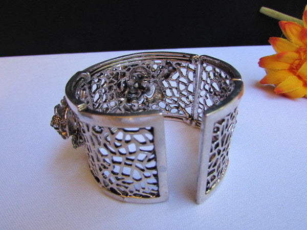 Silver Pewter Elastic Metal Bracelet Rhinestones Roses Flowers New Women Fashion Jewelry Accessories - alwaystyle4you - 8