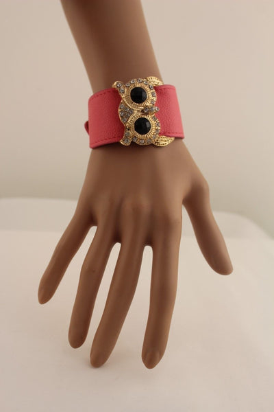 Aqua Blue / Pink / Light Pink / Black Faux Leather Strap Nude Bracelet Gold Metal Owl Head Black Rhinestone Fashion New Women Jewelry Accessories - alwaystyle4you - 24