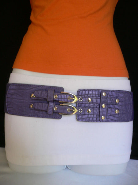 Red / Purple / Off White / Black Chunky Elastic Hip Waist Western Style Belt Double Buckles New Women Fashion Accessories - alwaystyle4you - 33