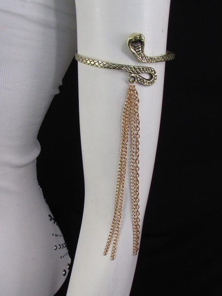Silver / Gold Metal Arm Cuff Bracelet Cobra Snake Multi Chains New Women Fashion - alwaystyle4you - 8