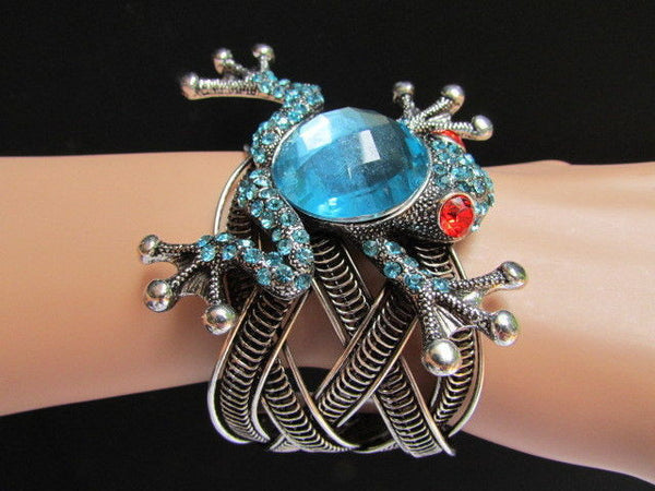 Silver Metal Cuff Bracelet Big Frog Black/Blue/ White Rhinestone Beads Red Eye New Women Fashion Jewelry Accessories - alwaystyle4you - 1