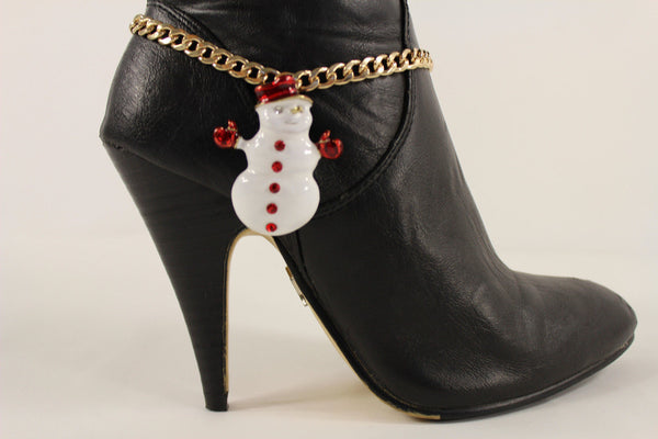 Gold Metal Boot Chain Bracelet White Snow Man Shoe Christmas Charm Women New Fashion Accessories - alwaystyle4you - 10