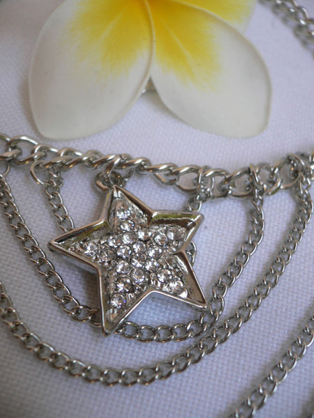Gold / Silver Boot Big Star Multi Trendy Chain Silver Rhinestones Western Style - alwaystyle4you - 23