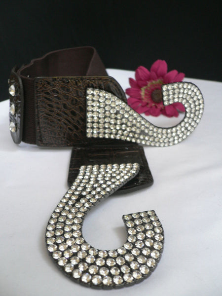 Brown Hip Waist Stretch Back Belt Western Hook Buckles New Women Fashion Accessories Size S To L - alwaystyle4you - 10