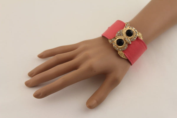 Aqua Blue / Pink / Light Pink / Black Faux Leather Strap Nude Bracelet Gold Metal Owl Head Black Rhinestone Fashion New Women Jewelry Accessories - alwaystyle4you - 25