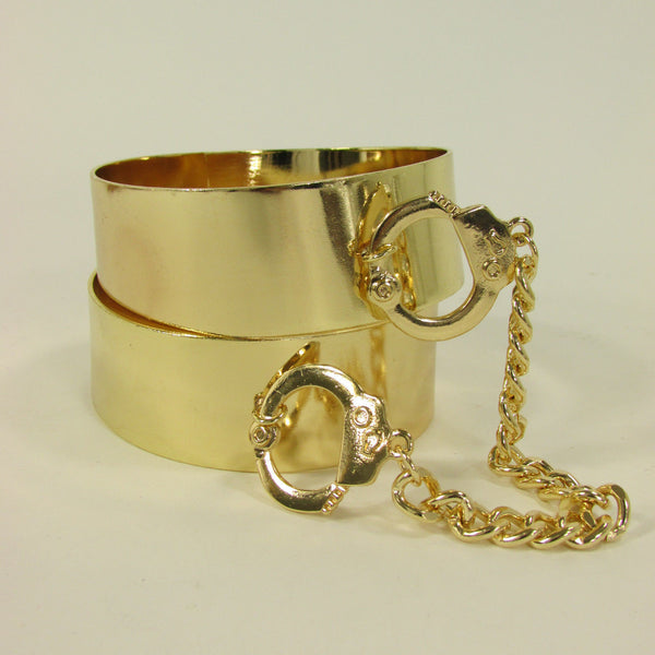 Gold Metal Plate Handcuffs Chain 2 Connected Bracelets Bangles New Women Fashion Jewelry Accessories - alwaystyle4you - 10