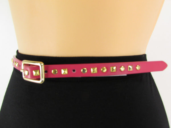 Pink Skinny Narrow Classic Belt Gold Studs Banana Republic New Women Fashion Accessories  XS S M L - alwaystyle4you - 10