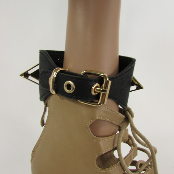 Gold Metal Spikes Boot Anklet Chain Bracelet Black Faux Leather Straps One Strap Shoe Women - alwaystyle4you - 10