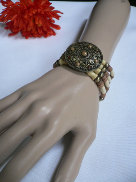 Beige Brown Wood Cream / Brown Bracelet Gold Dots Beads Native Style Fashion New Women Jewelry Accessories - alwaystyle4you - 29