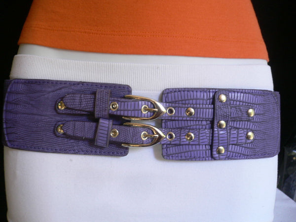 Red / Purple / Off White / Black Chunky Elastic Hip Waist Western Style Belt Double Buckles New Women Fashion Accessories - alwaystyle4you - 3