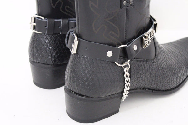 Silver Big Iron Cross Boot Chain Bracelet Pair Black Straps Shoe New Men Western Style - alwaystyle4you - 7