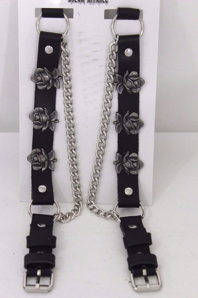 Silver Boot Chain Bracelet Pair Black Leather Straps Rose Flowers New Western Women Men - alwaystyle4you - 6