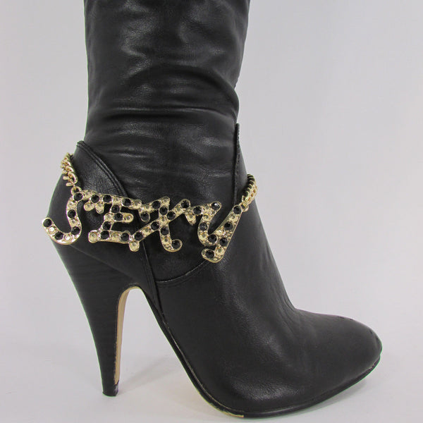 Gold Metal Boots Chain Bracelet Strap SEXY Shoe Charm Rhinestone New Women Fashion Accessories - alwaystyle4you - 3
