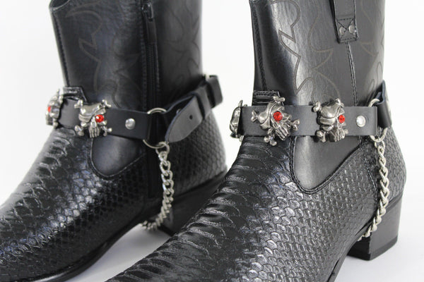 Men Western Boots Bracelets Silver Chain Black Pair Leather Strap Pirates Skulls