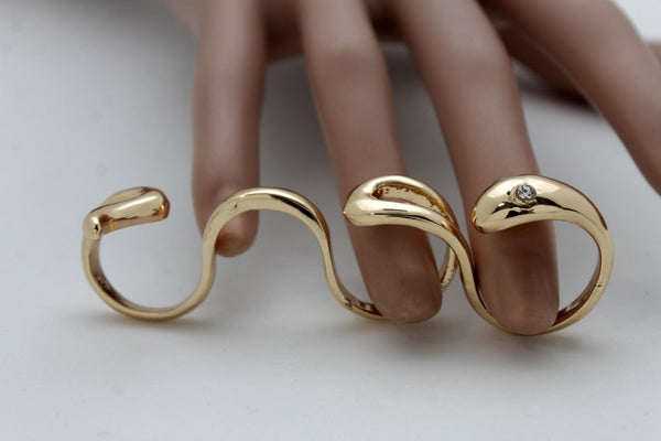 Gold Metal Wrap Around 4 Fingers Snake Band Long Ring New Women Fashion Jewelry Accessories