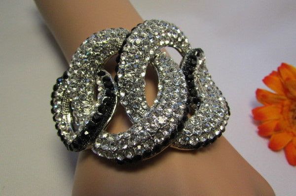Gold / Silver Bracelet Cuff Braided Multi Rhinestones New Women Trendy Fashion Jewelry Accessories - alwaystyle4you - 8
