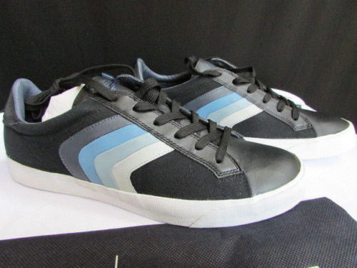 Black Blue Stripes Leather Sneakers Shoes Armani Jeans New Men Trendy Fashion Size 6.5