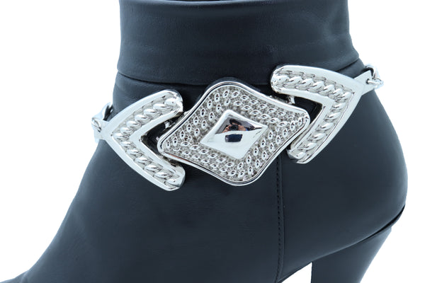 Brand New Women Silver Metal Chain Links Boot Bracelet Elegant Shoe Bling Retro Arrow Head Charm