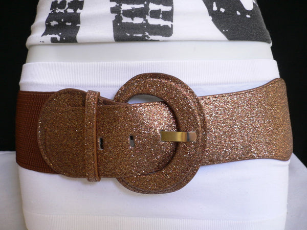 Gray / Dark Gray / Black / Gold / Brown / Brown Bronze / Red Elastic Hip Waist Sparkling Belt New Women Fashion Accessories XS To XL - alwaystyle4you - 48