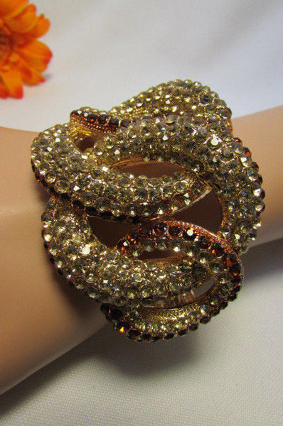 Gold / Silver Bracelet Cuff Braided Multi Rhinestones New Women Trendy Fashion Jewelry Accessories - alwaystyle4you - 17