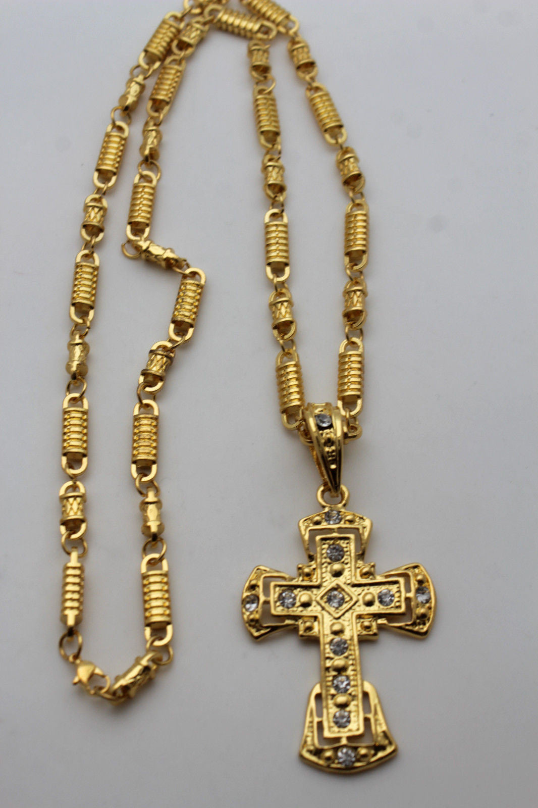 hollow large quot gold with out necklace heavy tone pendant big iced cuban cross mens inch dp