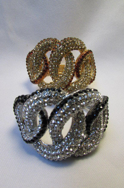 Gold / Silver Bracelet Cuff Braided Multi Rhinestones New Women Trendy Fashion Jewelry Accessories - alwaystyle4you - 21