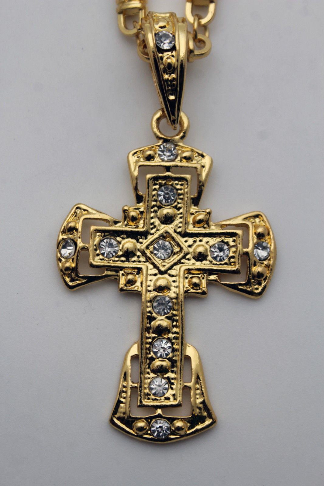 100a2e7908945 Men Gold Metal Chain Necklace Big Cross Pendant Hip Hop Silver Bling Jewelry