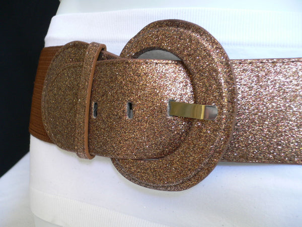 Gray / Dark Gray / Black / Gold / Brown / Brown Bronze / Red Elastic Hip Waist Sparkling Belt New Women Fashion Accessories XS To XL - alwaystyle4you - 2