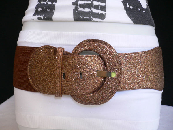 Gray / Dark Gray / Black / Gold / Brown / Brown Bronze / Red Elastic Hip Waist Sparkling Belt New Women Fashion Accessories XS To XL - alwaystyle4you - 12