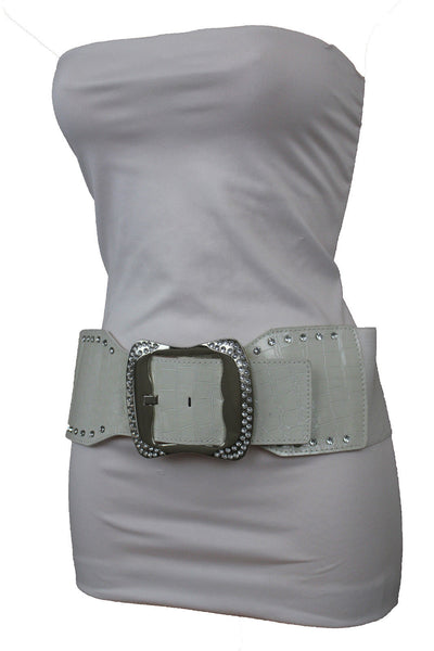 9 Different Colors Faux Leather Wide Elastic Belt High Waist Silver Buckle Women Accessories S-L