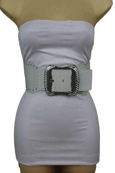 9 Different Colors Faux Leather Wide Elastic Belt Hip High Waist Silver Buckle Women Accessories S-M M-L