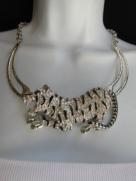 Silver Chain Big Tiger Body Panther Metal Necklace + Earrings Set New Women Fashion - alwaystyle4you - 5