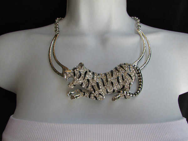 Silver Chain Big Tiger Body Panther Metal Necklace + Earrings Set New Women Fashion - alwaystyle4you - 6