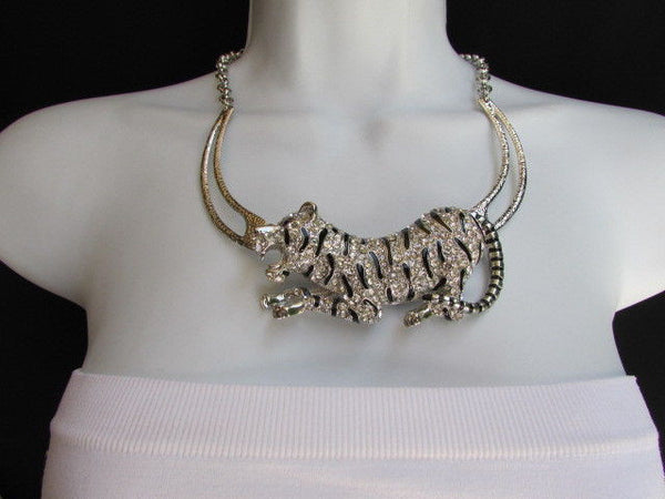 Silver Chain Big Tiger Body Panther Metal Necklace + Earrings Set New Women Fashion - alwaystyle4you - 9