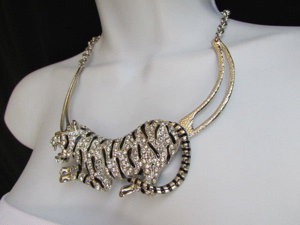 Silver Chain Big Tiger Body Panther Metal Necklace + Earrings Set New Women Fashion - alwaystyle4you - 11