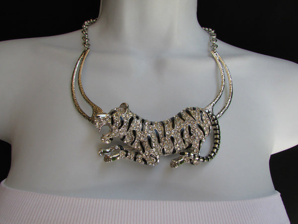 Silver Chain Big Tiger Body Panther Metal Necklace + Earrings Set New Women Fashion - alwaystyle4you - 2