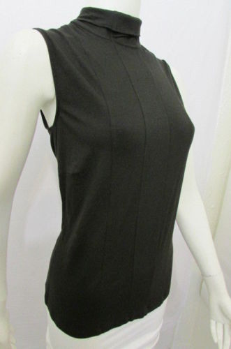 Black Sleeveless TankTop Turtle Neck Elastic Solid Blouse Akris Women Size American 10 Italian 44