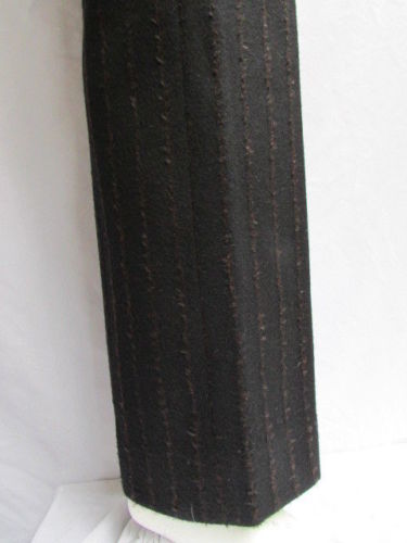 Black Brown Stripes Wool Angora Winter Classic Trousers Pants Akris Women New Size American 8