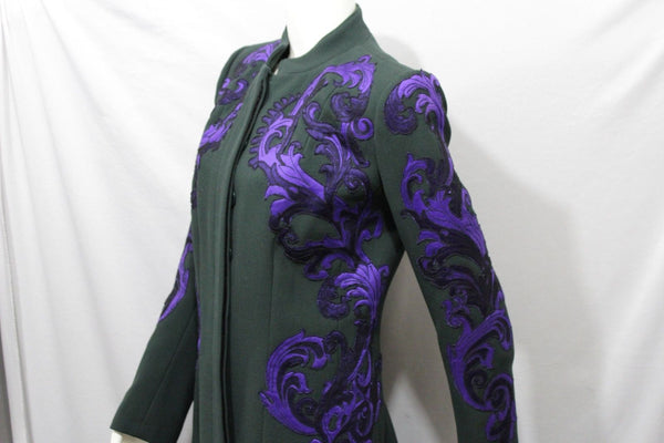 Green Wool Metallic Blue Floral Coat Jacket Cocktail Andrew GN Women Size American 10 Italian 44