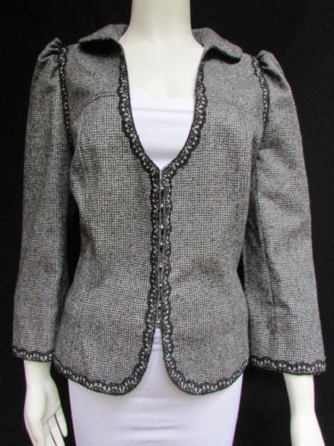 Black Gray White Check Lace Elegant Jacket Deep V Andrew GN Women Trendy New Fashion Size XL