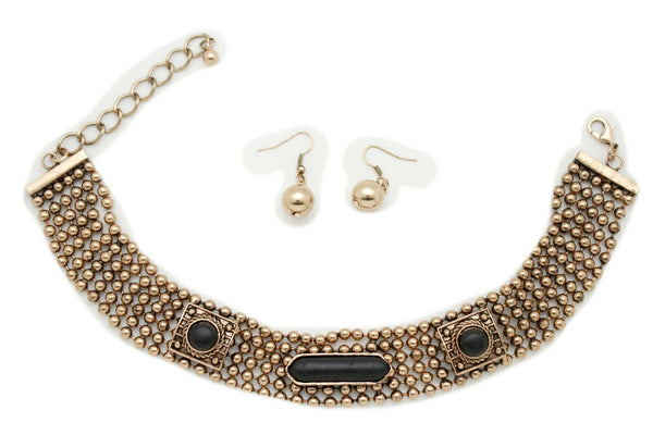 Antique Gold Metal Choker Necklace Black Beads + Earrings New Women Fashion Accessories Jewelry