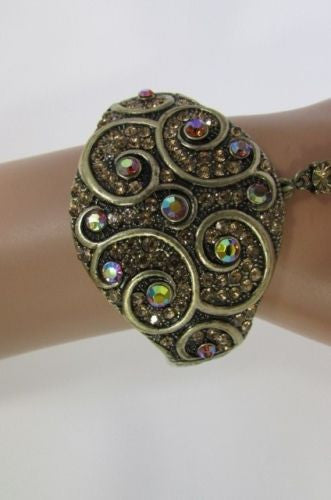 Gold Blue Hand Chain Cuff Bracelet Slave Square Ring Multi Rhinestones Women Accessories