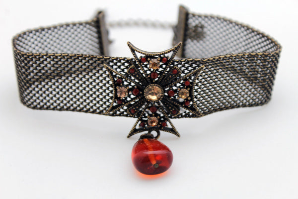 Mesh Metal Chains Choker Necklace Cross Charm Pendant Big Red Stone Bead New Women Accessories