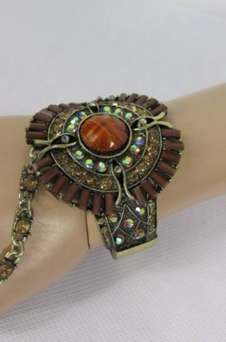 Antique Gold Metal Hand Chain Cuff Bracelet Slave Ring Big Brown Rhinestone Beads New Women Trendy Fashion Accessories