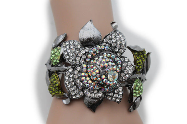 Antique Pewter Metal Wide Cuff Bracelet Green Flower Multi Rhinestones New Women Fashion Jewelry Accessories